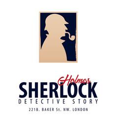 Sherlock holmes logo or emblem detective vector