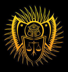 stylized art with symbol of ruthless law vector image
