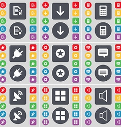Text file Arrow down Calculator Socket Star Chat vector image vector image