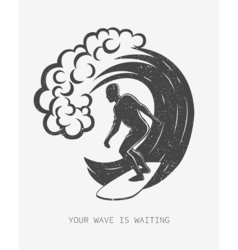Vintage logo Men surfing on big wave Surfboard vector image vector image