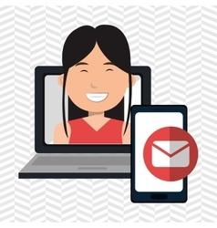 Woman laptop smartphone social vector
