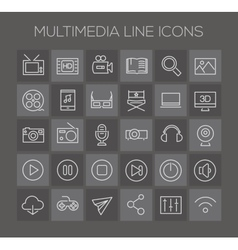 Inline multimedia icons collection vector