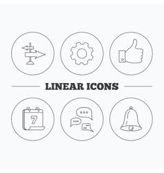 Direction thumb up and conversation icons vector
