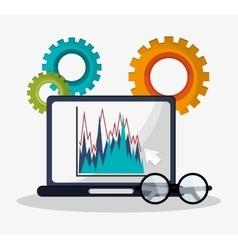 laptop graph statistics financial gears business vector image