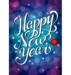Happy new year lettering on silver bokeh retro vector