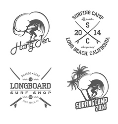 Set of vintage surfing labels and badges vector image