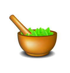 Mortar with pestle and leaves vector