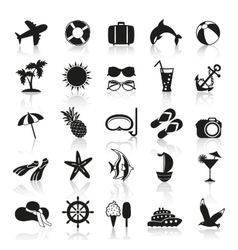 Summer icons in black and white vector