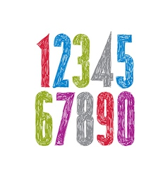 Stylish digits handwritten numerals vector