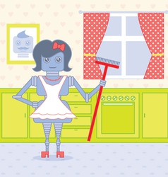 Robot housewife vector