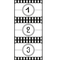 Film countdown numbers part 1 vector
