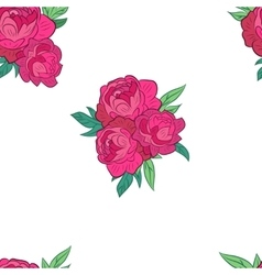 Seamless pattern with pink peonies vector