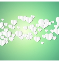 White paper hearts valentines day card on emerald vector