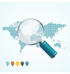 Magnifier and world map vector