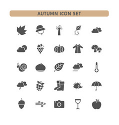 autumn icon set on a white background vector image