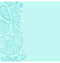 Background with seashells rocks seahorse and vector