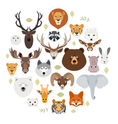 Big animal face icon set cartoon heads of fox vector