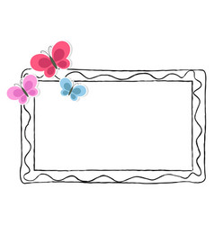 black and white photo frame with color butterflies vector image