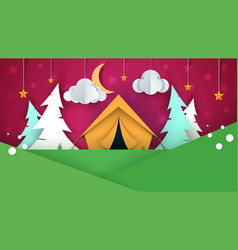 Cartoon paper landscape tent christmas tree vector