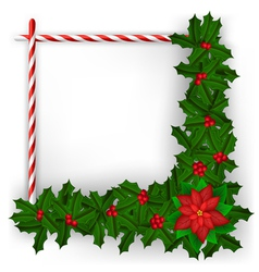 Christmas frame with holly branch and candy vector image vector image