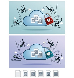 Cloud storage protected from computer virus vector