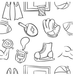 Collection of sport equipment doodle style vector