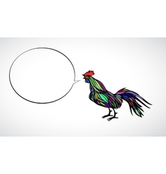 Color rooster with speech bubble vector