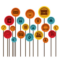 Color tech icons online vector