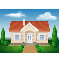 cottage house with the environment vector image