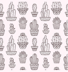 cute hand drawn cactuse pattern vector image vector image