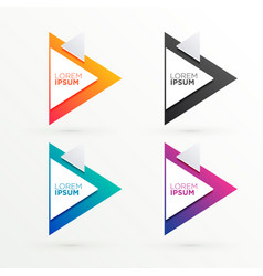 Elegant triangle banners set with text space vector