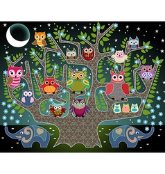 Elephants and owls vector image vector image