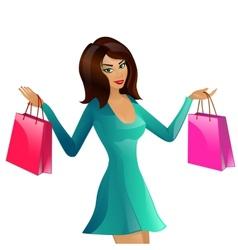 girl supermarket package vector image