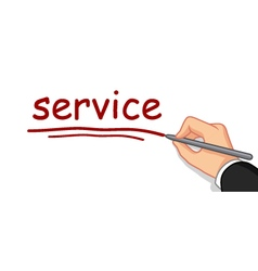 hand writing service word vector image vector image