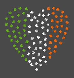 Heart shaped irish flag ireland flag made of vector