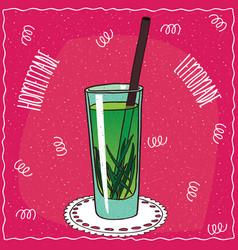 Homemade tarragon lemonade in cartoon style vector