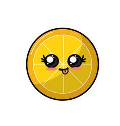 Kawaii cute funny lemon slice fruit vector