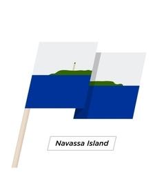 Navassa island ribbon waving flag isolated on vector