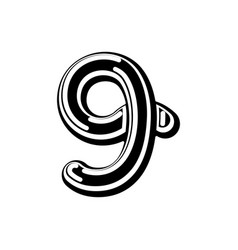 number 9 celtic font norse medieval ornament abc vector image