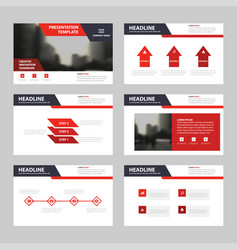 red black presentation templates infographic vector image vector image