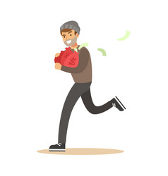 Robber in mask running with red money bags vector