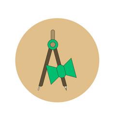 School compass flat icon of vector