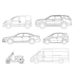 Set of outline icons cars view to the side vector