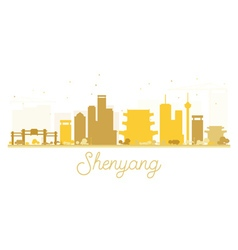Shenyang City skyline golden silhouette vector image vector image