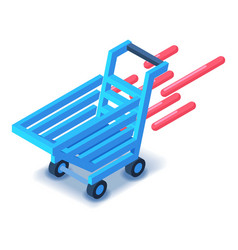Shopping cart in motion icon isometric style vector