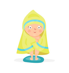 Sweet cartoon baby wrapped in a yellow towel after vector