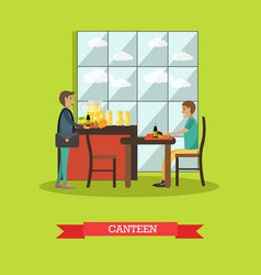 University canteen in flat vector