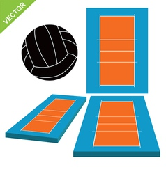 Volleyball and court vector image vector image