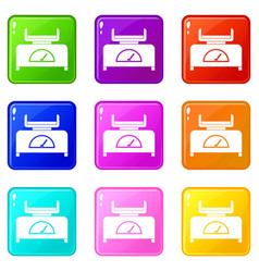 Weight scale icons 9 set vector