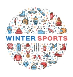 Winter sports colorful thin line icons set vector image